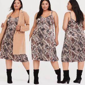 NWT Torrid Shiny Satin Snake Print Slip Dress
